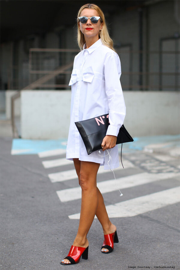 Shirt Dress With Block-Heel
