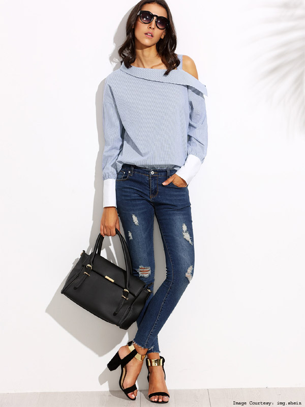 Asymmetrical Deconstructed Shirt With Denim Trousers