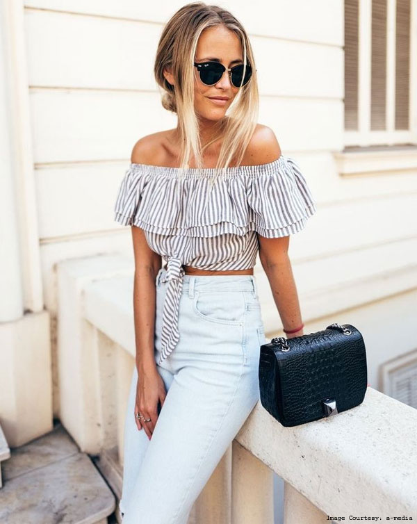 Layered Off Shoulder Deconstructed Shirts With Sunglasses And a Trouser