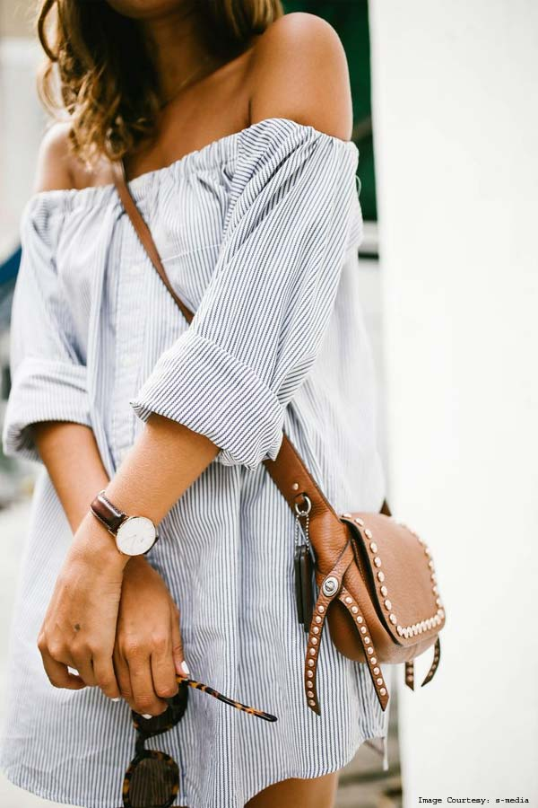 Layered Off Shoulder Deconstructed Shirts With Sunglasses And a Skirt