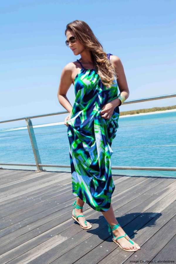 Nautical Full-Length Dress