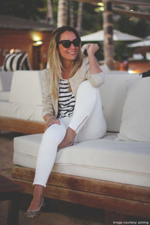 Nautical Outfit - White Pants And a Striped Tee