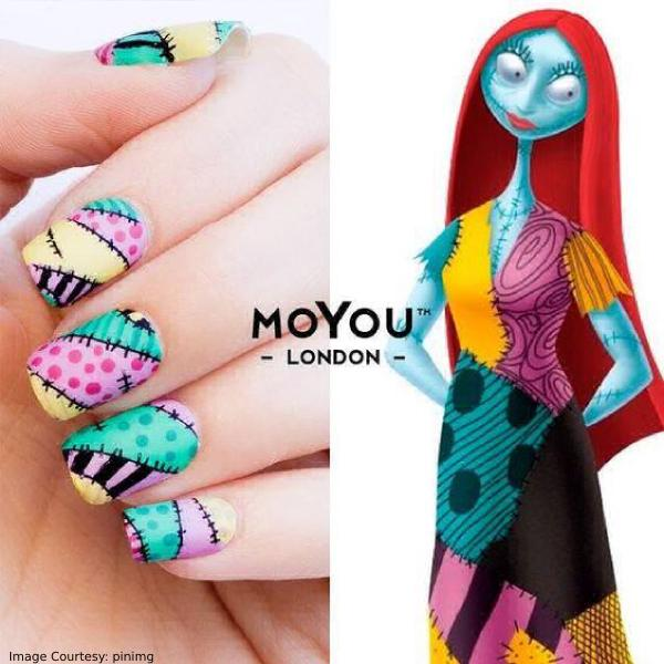 Colorful Voodoo Halloween Nail Art