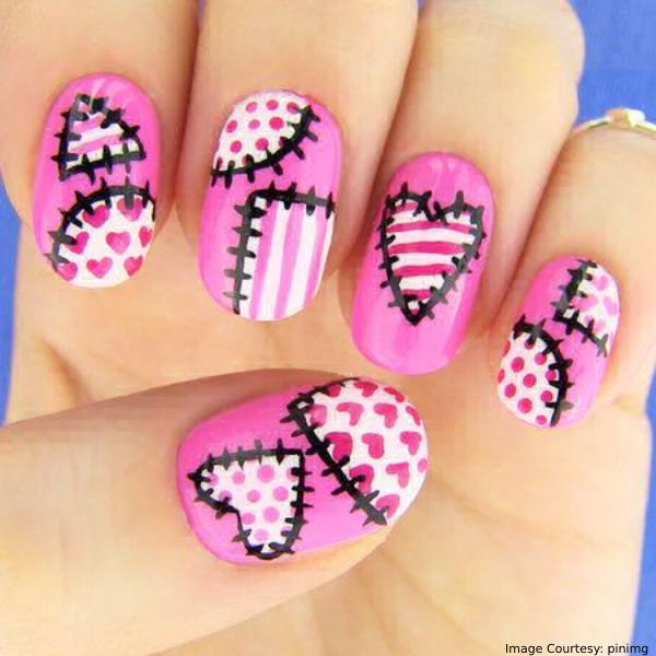 Heart Stiches Halloween Nail Art Designs