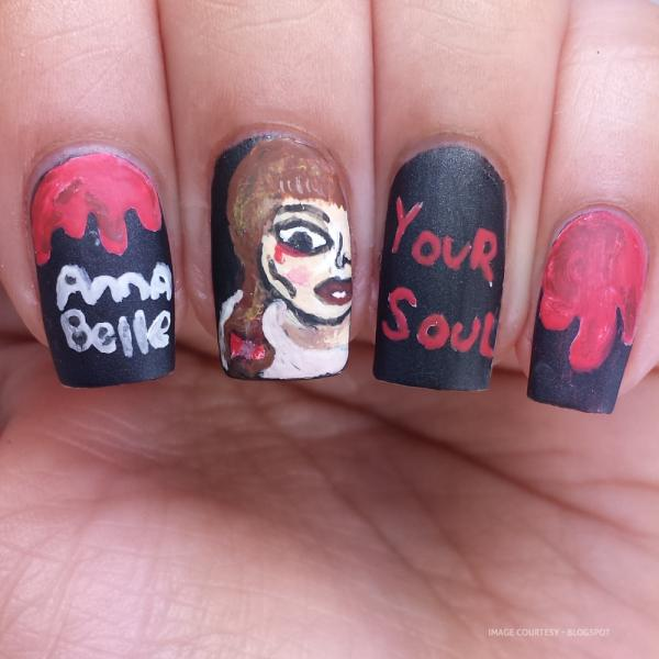 Raggedy Ann Doll Inspired Halloween Nail Art