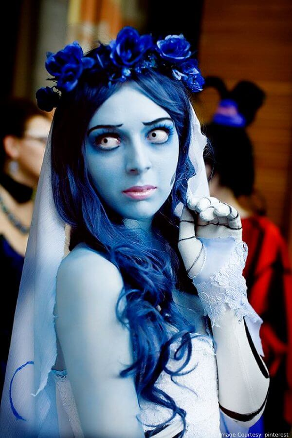 Spooky Corpse Bride Blue Halloween Hair Color