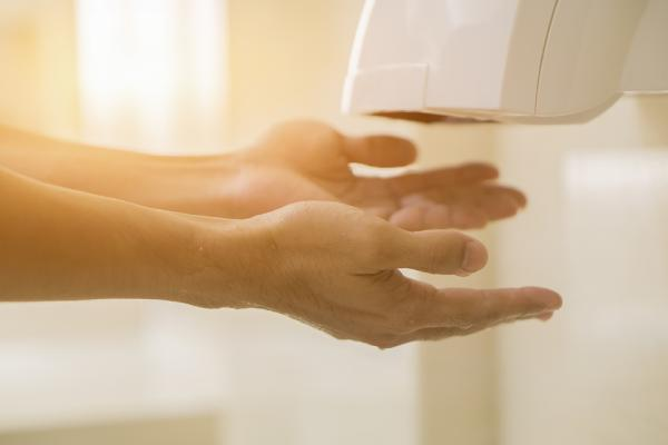 Avoid hot air dryers that are responsible for wind chapped hands