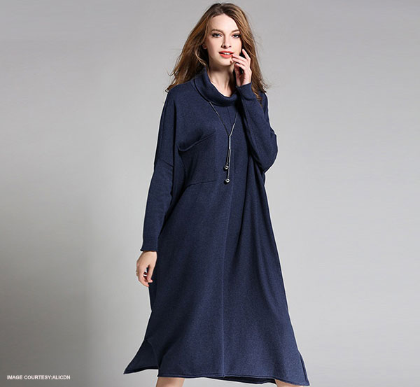 Batwing Long Sweater Dress