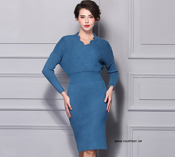 batwing sleeve midi dress