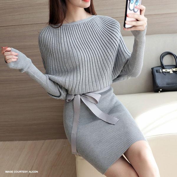 Bowknot Ribbon Batwing Sweater