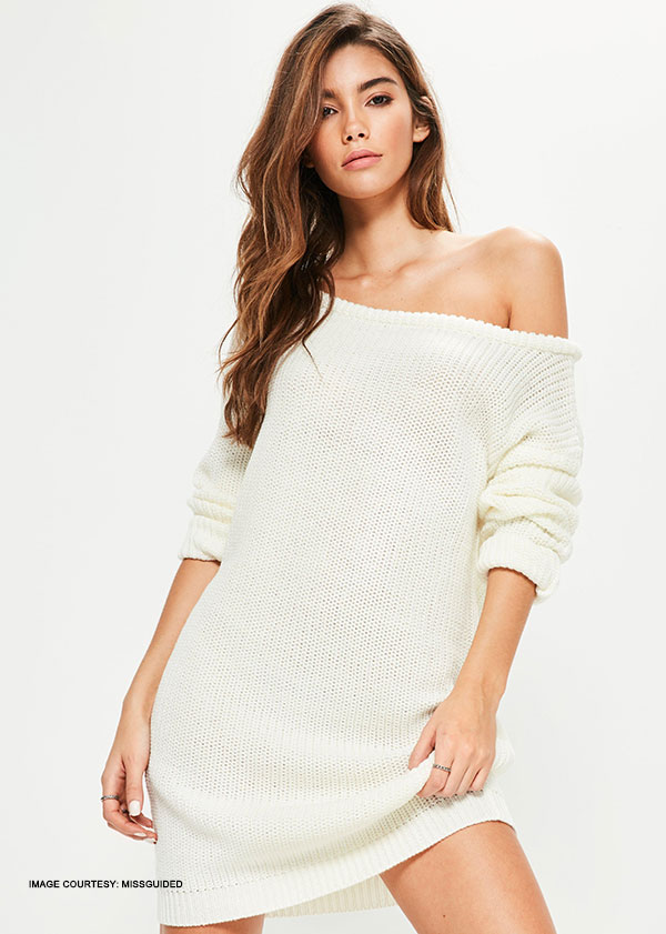 One-Off Shoulder Batwing Sleeve Sweate