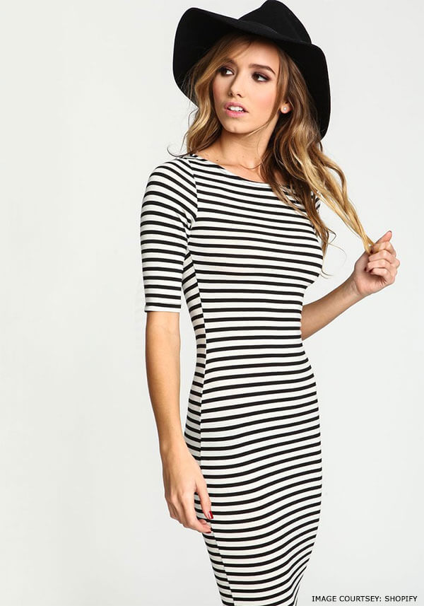 Accessories to try with stripped bodycon dress