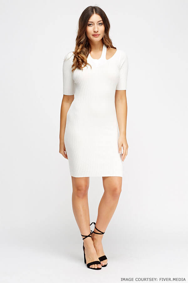 Step up your off-duty look in ribbed halter neck bodycon dress