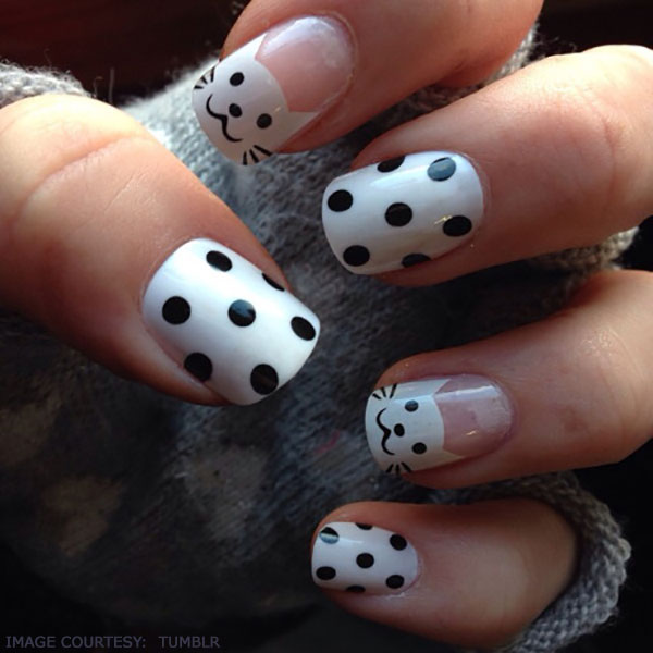 cat-inspired-polka-dots-nail-art