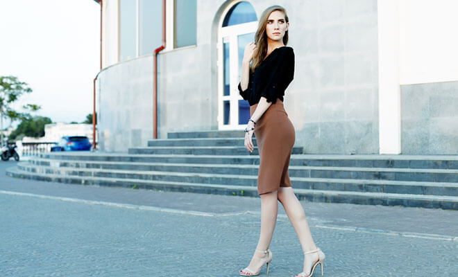 Most Attractive Brown Pencil Skirt To Style With a Black Top