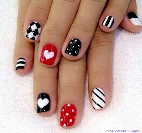 30 cool polka dot nail art you must try to style to your nails black with white polka dots and red hearts prinsesfo Gallery
