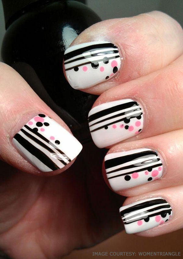 30 cool polka dot nail art you must try to style to your nails stripes and polka dots nail designs prinsesfo Gallery